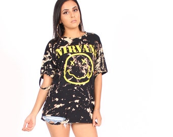 29466735995e6 Nirvana Smiley Face Tie Dye Distressed Oversized T-Shirt Dress Rock Band Tee