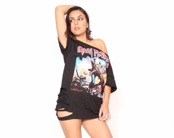 ea70cdd9ed9fd Iron Maiden Trooper T Shirt Women's Distressed Ripped Off Shoulder Dress  Over Sized T, Vintage look.