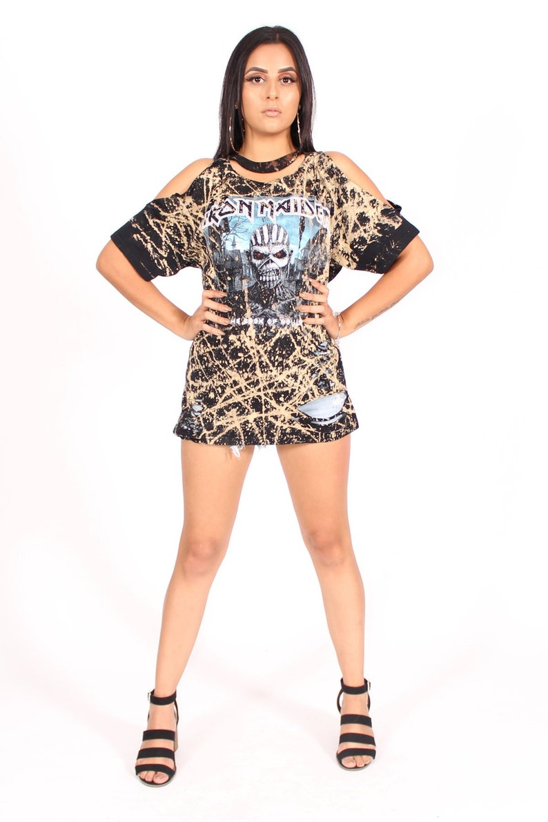 4d5774ebe96 Iron Maiden Book Of Souls Tie Dye Distressed T-Shirt Dress