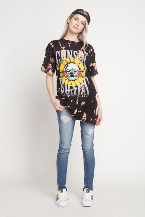 Guns N Roses T-shirt for Women, Bleached Vintage Look