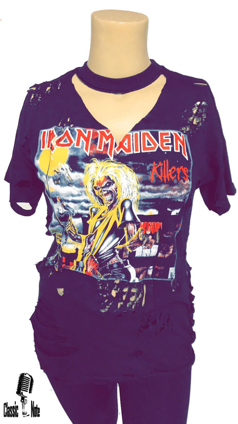 8b77b2e333 Iron Maiden T Shirt Killer Distressed Holes Ripped