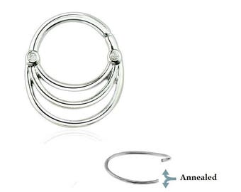 Double Austrian CZ Triple Layer Bib 316L Surgical Steel Septum Hoop