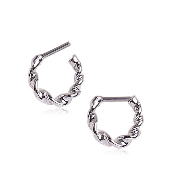 Covet Jewelry Antique Silver 316L Surgical Steel Rope Designed Septum Clicker