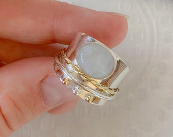 Gemstone Jewelry Wide Band Ring Sterling Silver Ring Worry Ring Spinning RIngs Anxiety Ring Moonstone Fidget Ring Spinner Rings