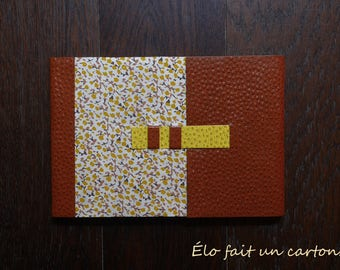 Diary / book writing Brown and yellow flowers