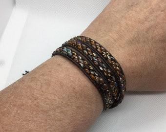 Beaded Leather Wrap Bracelet   Boho Bracelet   Three Wrap   Stacking Bracelet   Czech Beads Wrap