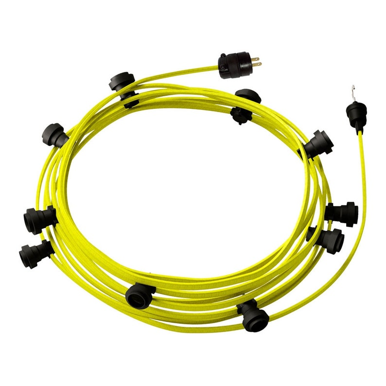 Ready-to-use 40ft String Light with Rayon Fabric Cable Yellow Fluo CF10 Kit with 10 Sockets Hook and Plug