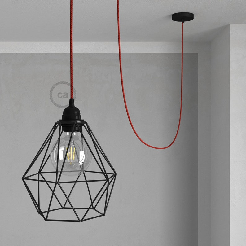 Swag Lamp Pendant Light with Black Diamond light bulb cage  Red  Black Rayon cloth covered wire RT94
