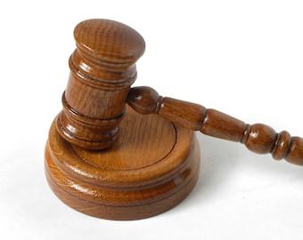 Wooden judge's hammer, gavel, handmade from oak