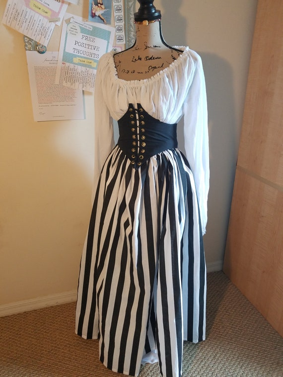 Steampunk Skirts | Bustle Skirts, Lace Skirts, Ruffle Skirts Georgiana Pirate Wench Renaissance Striped Skirt $53.00 AT vintagedancer.com