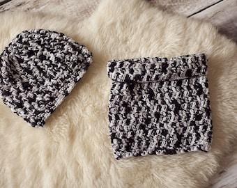 Set of hat and Snood color grey black boy