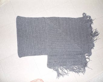 Large, grey, knitted handmade scarf