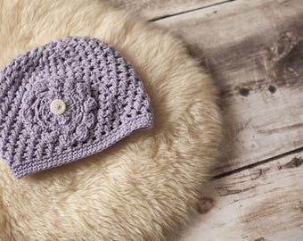 Hat in wool, purple, 4-5 years