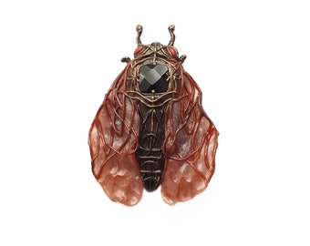 Sleeping Cicada Brooch with Onyx and Corals FREE SHIPPING Magic Bug JRomeArt Onyx brooch Insect brooch Art brooch OOAK brooch Red brooch