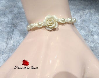 Bracelet 4 romantic woven with pink ivory and pearls