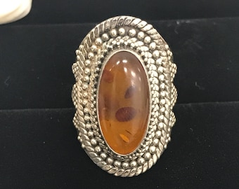 925 silver vintage ring with orange stone L087