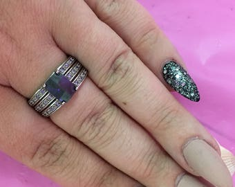 Vintage 925 Purple Stone Thick Band Ring L186