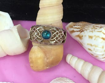Sterling Boho Ring with Aqua Stone L171