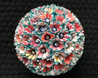 Paper Flower Pomander Ornament In Orange And Blue Etsy