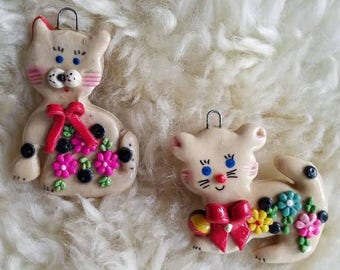 Vintage salt dough ornaments, cat ornaments, Christmas ornaments, holiday decor, vintage ornaments, kid ornaments, animal ornaments