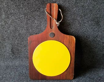 Vintage Woodcrest by Styson Japan cheese board, trivet, cheese paddle, walnut, yellow enamel, mid-century modern, retro, 1960s 1970s