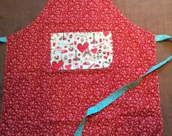 Apron has red flowers, Pocket Paris