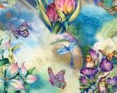 Robert Kaufman-Morningmoon Fairies -Garden Hummingbirds Frogs & Butterflies - Digital - Fabric by the Yard or Select Length ABKD17646238 photo
