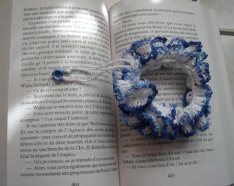Scrunchie elastic cotton blue and white
