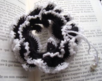 Scrunchie elastic cotton black and white