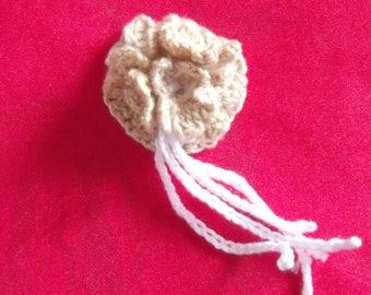 hand crocheted cotton flower brooch