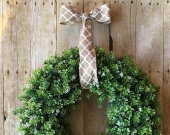 Farmhouse Wreath- Boxwood with pattern