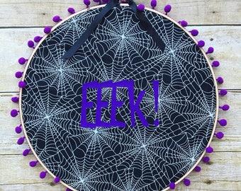 EEK! Embroidery hoop wall hanging