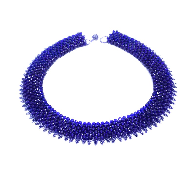 Crystal Collar Necklace Blue Crystal Choker Necklace Beaded Necklace New Blue Statement Necklace Capricho Necklace Blue Color Necklace