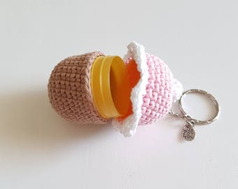 Keychain cake cupcake crochet Hider of treasure
