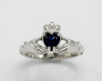 40250eba36 Claddagh Aideen Sterling Silver Ring with Lab Made Sapphire- Wedding,  Engagement, Promise, Proposal, Love and Friendship, Irish Ring, Gift