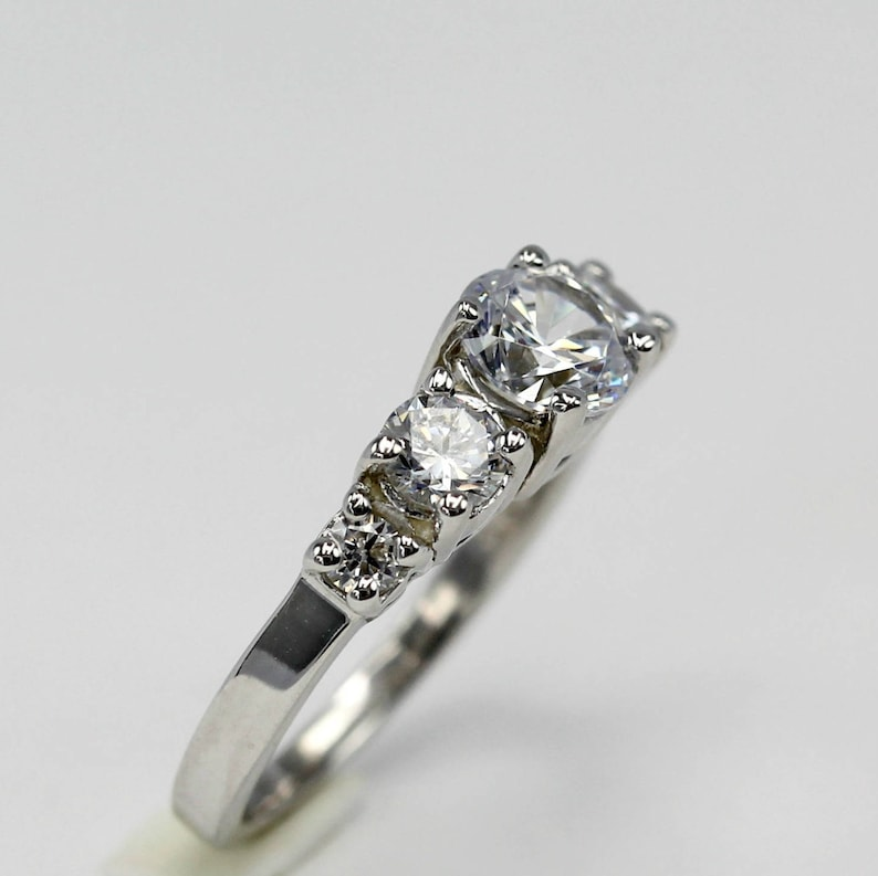 Anniversary Engagement Ring Promise Love and Friendship Art Deco Sterling Silver 5 Stone Cindy Engagement Ring- Wedding Proposal