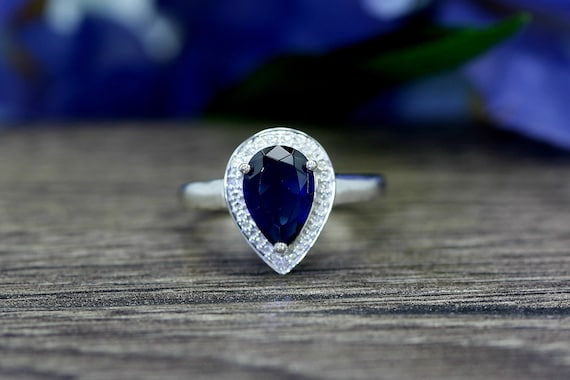 2 Ct Alexandrite Pear Shape Ring .925 Sterling Silver