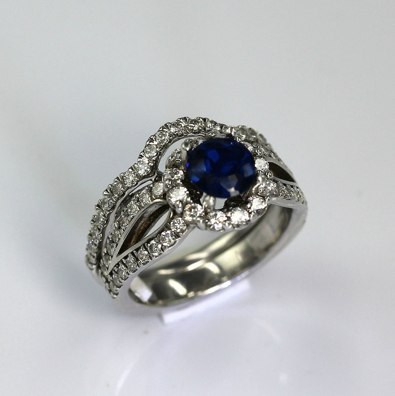 Anniversary Promise Art Deco Halo 1Ct Proposal,Love and Friendship Ring Sapphire and Diamond Silver Engagement Ring and Band Set-Wedding