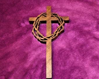 Cross - Crown of Thorns - Walnut