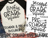 Back to school, SVG Bundle Preschool Pre-K to 6th grade, 1st grade arrow SVG, school cut file, svg file, 1st day of school, SoCuteCuttables