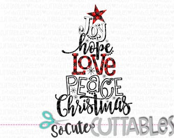 christmas svg cut file joy hope love svg buffalo plaid distressed christmas tree svg cut file christmas cut file merry christmas svg