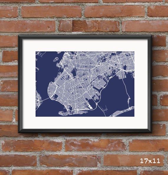 Brooklyn map art print nyc blueprint brooklyn map malvernweather Image collections