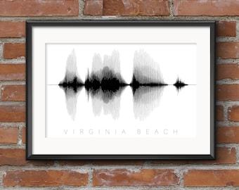 Virginia Beach Word Art Print: Waveform // Virginia Beach Sound Wave | Virginia Beach Sound Art | Virginia Beach Word Art // Free Shipping