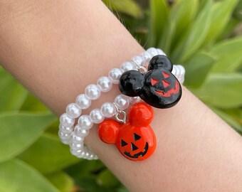 Mickey Inspired Jack-o'-lantern Pearl Bracelets - Black or Orange