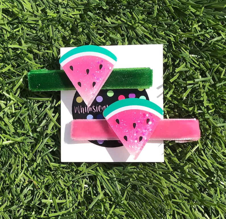 Set of Two Watermelon Large Sized Hair Clips Easter Gift