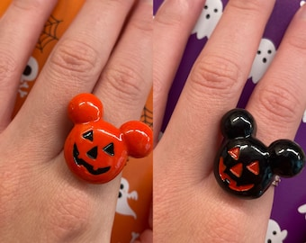 Mickey Inspired Jack-o'-lantern Rings - Black or Orange