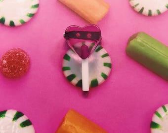 Heart Lollipop Brooches