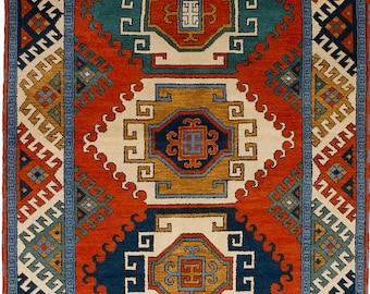 "Bohemian Tribal Rug, Tribal Geometric Vintage Rug, Red wool rug, Navy blue rug, Hand-knotted Royal Kazak Dark Copper Wool Rug 6'5"" x 10'0"""