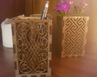 Wooden pencil holder/organiser box , Candle holder