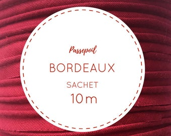 Bag 10 m cotton piping - Bordeaux Red